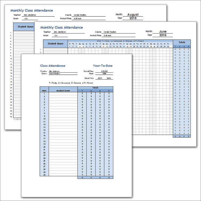 Yearly Class Attendance Template
