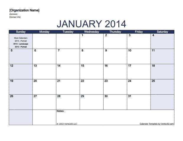Monthly Calendar - Landscape