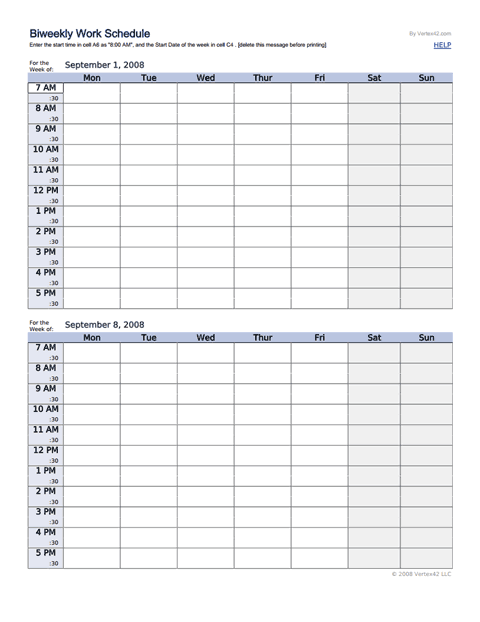 Biweekly Work Schedule Template