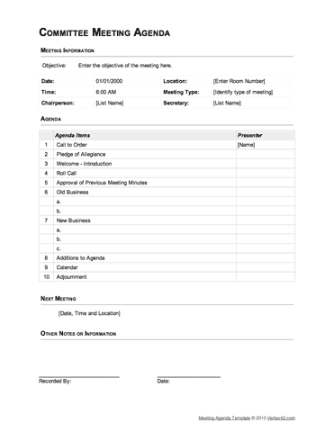 Committee Meeting Agenda Template (Table Format)