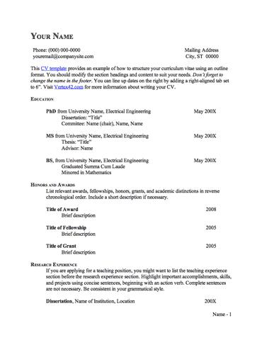 CV Template (Outline Format)