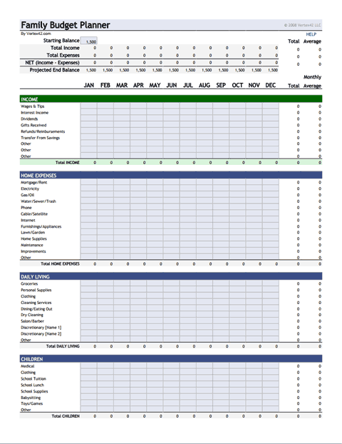 Family Budget Planner Template