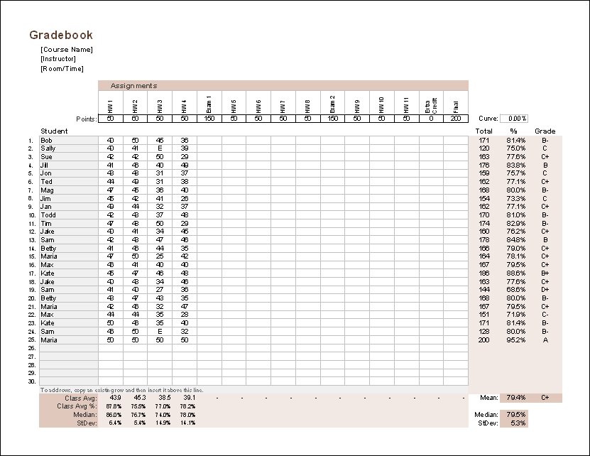 Gradebook Template (Point System)