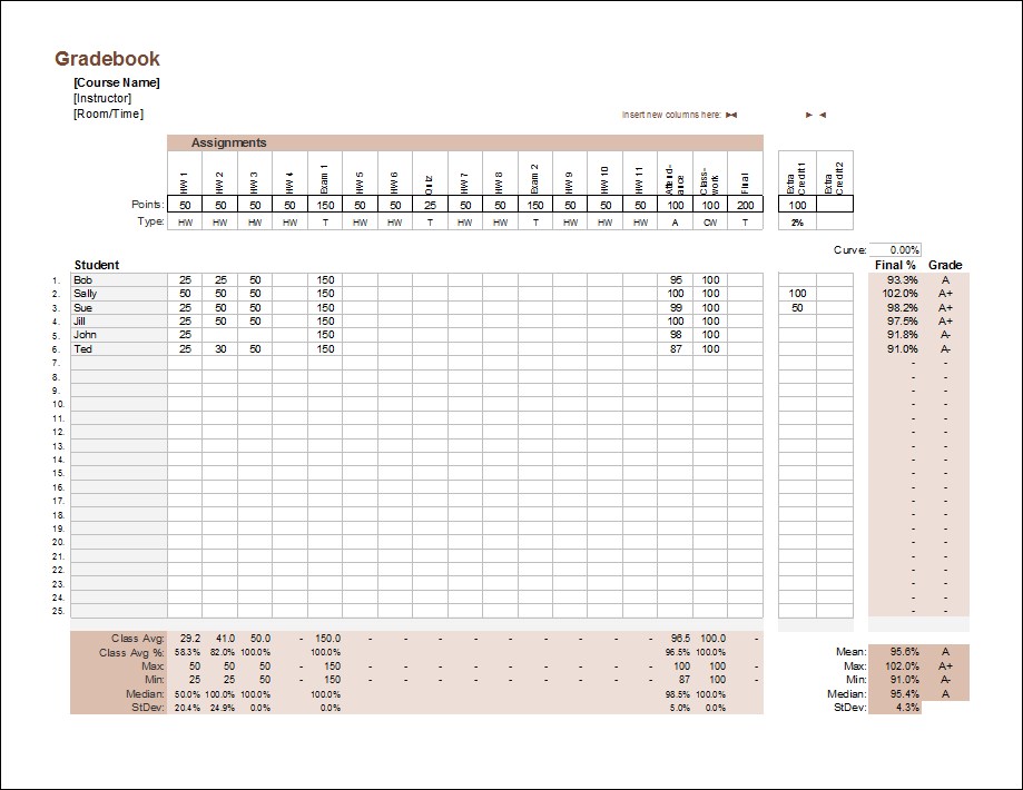 Gradebook Template (Point System - Weighted)