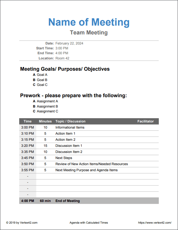 Meeting Agenda with Calculates Times