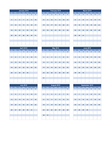 Planning Calendar Template