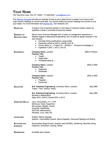 Resume Template (Table Format)