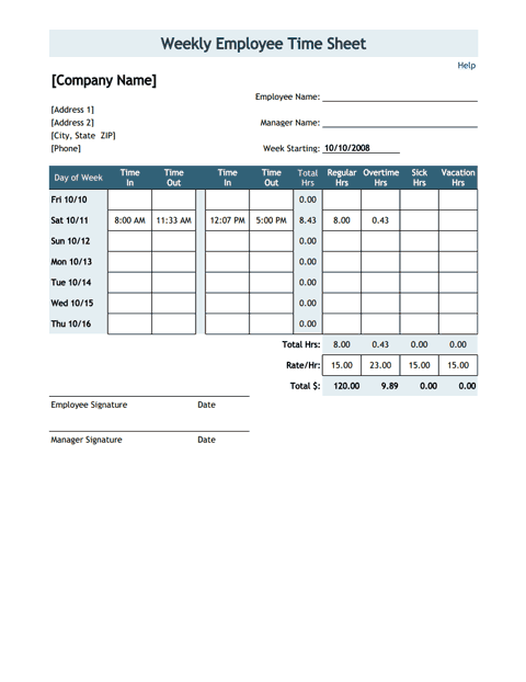 Time Sheet Template with Breaks