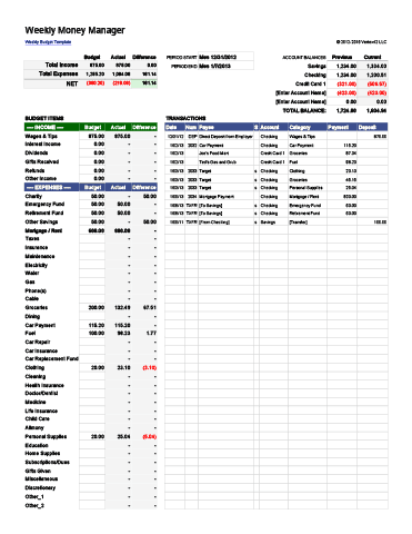 Weekly Money Manager Template