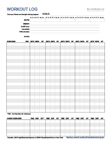 Workout Log Template